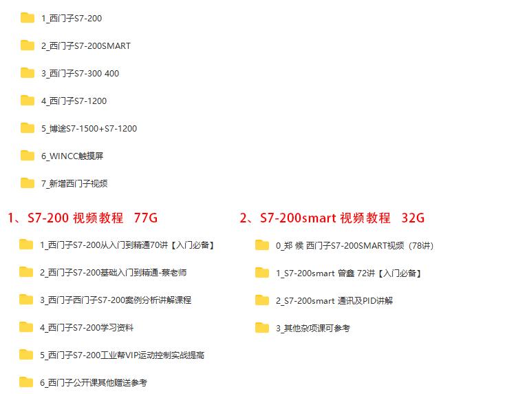 西门子S7-200/S7-200smart /S7-300/S7-400/博途/1200PLC视频教程案例教程